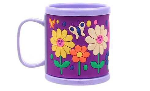 obrázek Hrnek dětský plastový (fialový s květy)