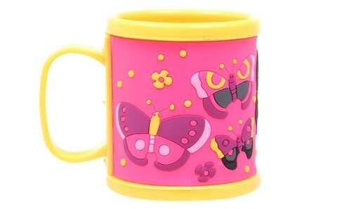 obrázek Hrnek dětský plastový (žlutý s motýli)