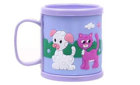 obrázok Hrnček detský plastový (fialový s psíkom a mačičkou)
