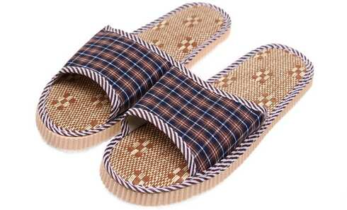 obrázek Pantofle s otevřenou špičkou kostkované hnědé vel.42/43