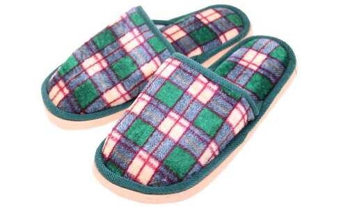 obrázek Pantofle domácí kostkované zelené vel.42/43