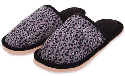 obrázek Pantofle domácí leopardí černé vel.44/45