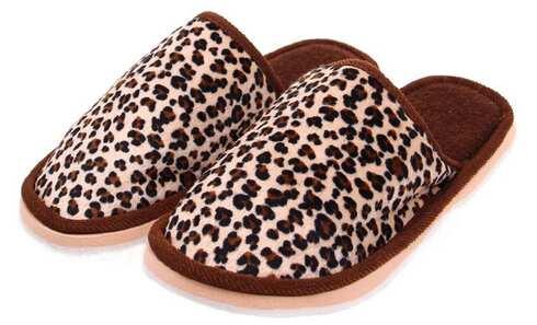 obrázek Pantofle domácí leopardí hnědé vel.44/45