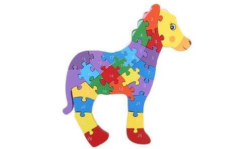 obrázok Vzdělávací drevené puzzle koník