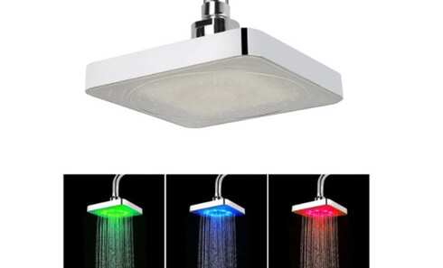 obrázek LED sprchová hlavice hranatá