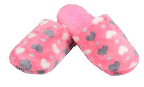 obrázok  Papuče zateplené ružové so srdiečkami 40/41