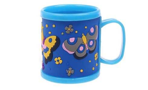 obrázok Hrnček detský plastový (modrý s motýle)