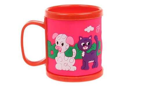 obrázek Hrnek dětský plastový (oranžový s pejskem a kočičkou)