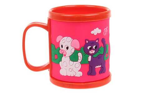 obrázok Hrnček detský plastový (oranžový s psíkom a mačičkou)