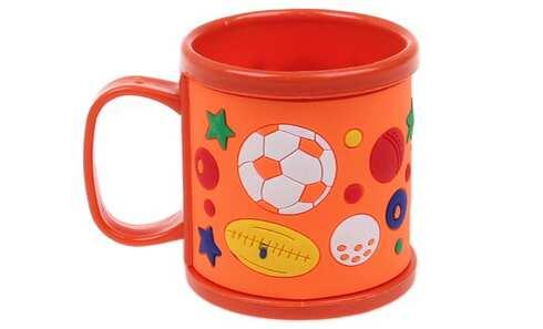 obrázok Hrnček detský plastový (oranžový s lopte)
