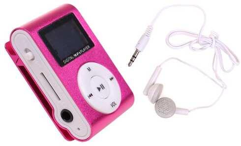 obrázek Mini MP3 přehrávač s displejem růžový