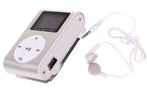obrázek Mini MP3 přehrávač s displejem stříbrný