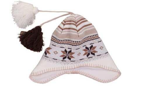 obrázek Čepice zimní bílo-hnědá s bambulkami