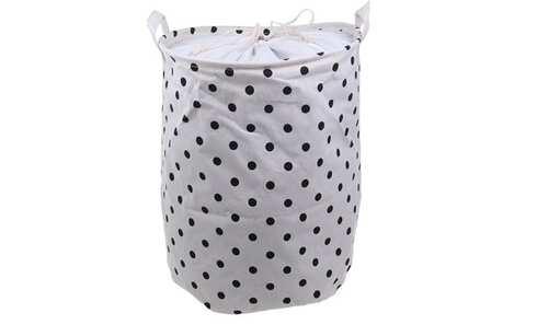 obrázek Koš na prádlo bílý s puntíky