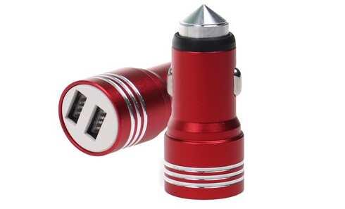 obrázok USB nabíjačka do auta červená