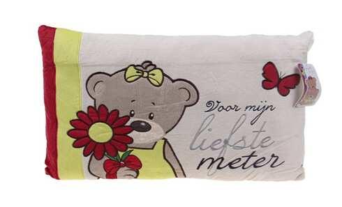 obrázok Krémový vankúšik s medvedíkom a kvetinou