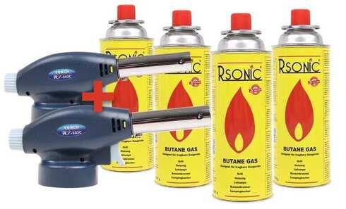 obrázek Výhodná sada 2 ks plynový hořák + 4 ks plynové kartuše