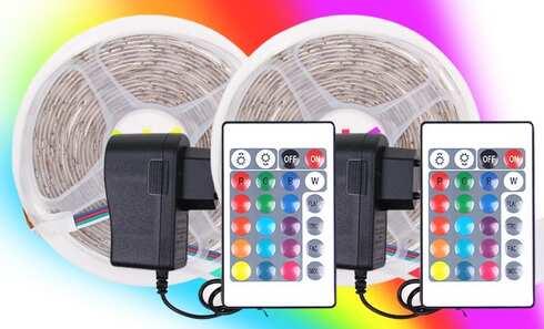 obrázek 2 ks LED pásků 10 metrů - RGB 230 V / 12 V